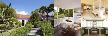 Cotton House, Mustique, (clockwise from left): Cottage Exterior, Balcony, Bedroom and Bathroom