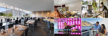 Crowne Plaza Queenstown, (clockwise from left): Threesixty Restaurant, Breakfast Buffet, Breakout Bar, Views from Threesixty Restaurant and The Bar