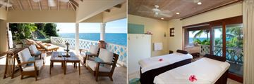 Spa Terrace and Spa Treatment Room at Curtain Bluff