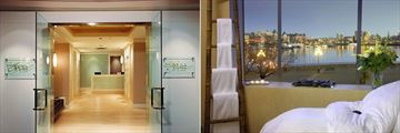Spa Entrance and Spa Treatment Room at Delta Hotels by Marriott Victoria Ocean Pointe Resort