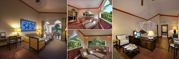 Diamonds Dream of Africa, (clockwise from left): Suite Living Room, Suite Balcony, Junior Suite Bedroom and Junior Suite Balcony