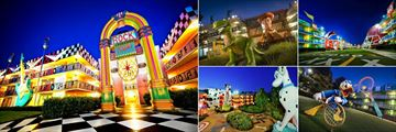 Disney's All-Star Resorts, (clockwise from left): Music Resort Exterior, Toy Story and Dalmation Statues from Movie Resort and Sport Resort Exterior and Donald Tennis Court
