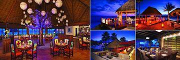 Dreams Puerto Aventuras Resort & Spa, (clockwise from left): El Patio Mexican Cuisine, Romantic Dinner, Barracuda Bar, Wine Cellar and Gohan Sushi Lounge