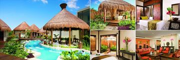 Dreams Riviera Cancun Resort & Spa, (clockwise from left): Spa Garden, Spa Garden Cabin, Cabin Treatment Room, Preferred Club Lounge and Spa VIP Cabin