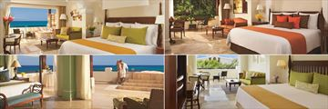 Dreams Sapphire Riviera Cancun, (clockwise from top left): Oceanfront Suite, Deluxe Junior Suite Tropical View, Preferred Club Junior Suite Tropical View and Governor Suite