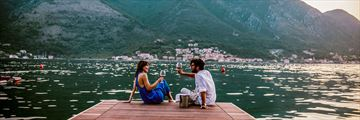 Couple drinking wine in Montenegro