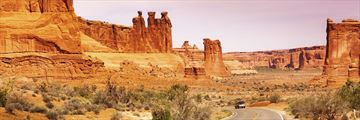 Driving through Arches National Park, Utah