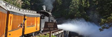 Durango Silverton train journeying over Animas River, Colorado
