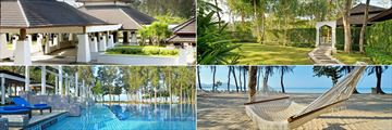 Dusit Thani Krabi Beach Resort, (clockwise from top left): Exterior, Gardens, Beach and Malati Pool