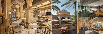 Emirates Palace, (clockwise from left): Le Vendome Restaurant, Cascades Poolside Restaurant, Sayad Seafood Restaurant and Mezzaluna Italian Restaurant