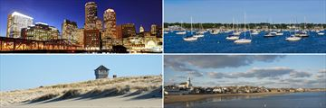 Clockwise from top left: Boston, Hyannis, Provincetown and Cape Cod