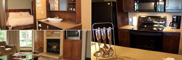 Les Suites de Tremblant - Ermitage du Lac, Suite Bedroom, Kitchen and Living Area