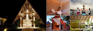 Essque Zalu Zanzibar, (clockwise from left): Spa Entrance, Sauna, Yoga, Relaxation Area and Maasai Ritual Village