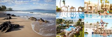Fairmont Kea Lani Maui, (clockwise from left): Beach, Lower Lagoon Pool, Pool, Family Pool and Aerial of Upper Pool