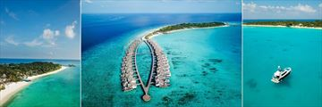 Fairmont Maldives, Beach, Aerial Views and Private Yacht