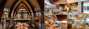 Fiji Marriott Resort Momi Bay, (clockwise from left): Goji Kitchen & Bar, Goji Seating Area, Fiji Baking Company, Fish Bar and Fish Bar Seating Area