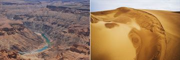 Fish River Canyon & Desert sand dunes in, Namibia