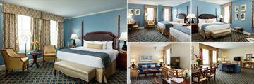 Francis Marion Hotel, (clockwise from left): Deluxe Room, Deluxe Twin, Harbour View Suite Bedroom, Harbour View Living Area and Francis Marion Suite Living Area