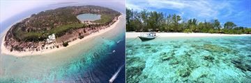 Aerial of Gili Meno & Gili Island tropical waters