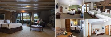 Golden Arrow Lakeside Resort, (clockwise from left): Lakeside Speciaility Room, Deluxe Village Side Room, Windfall Kitchenette, Rocky Peak and Echo Room