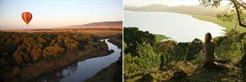 Hot air balloon rides over Masai Mara (left), and views at Loldia House (right)