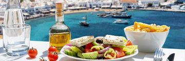 Greek salad with views of Mykonos