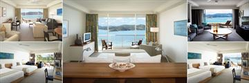 Hamilton Island Reef View, (clockwise from top left): Suite Lounge, Suite Bedroom, Presidential Suite Lounge, Coral Sea View Room and Garden View Room