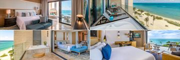 Clockwise from top left: One Bedroom Suite interiors, One Bedroom Suite balcony, Ocean Front Suite and Presidential Suite