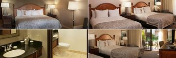 Hilton Santa Barbara Beachfront Resort, (clockwise from top left): Mountain View King, Mountain View Two Queen Beds, Resort View Two Queen Beds and Guest Bathroom