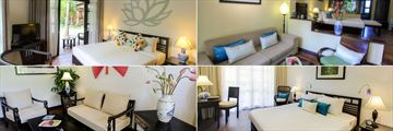 Hoi An Trails, (clockwise from top left): Superior Room, Premium Deluxe Room, Suite and Suite Living Area
