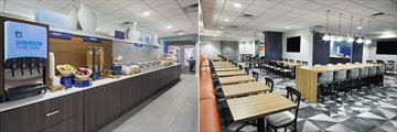 Hot Breakfast Buffet and Breakfast Dining Area at Holiday Inn Express Downtown