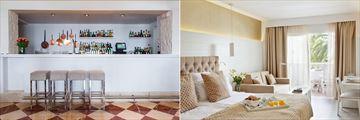 Bar and room interiors at Hotel Illa d'Or