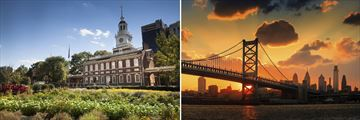 Independance Hall & Benjamin Franklin Bridge, Philadelphia