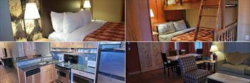Inns of Banff, Three Bedroom Condo Master Bedroom, Bunk Beds, Living Area and Kitchen
