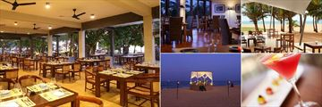 Jetwing Beach, Negombo, (clockwise from left): Sands Restaurant, Black Coral Restaurant, The Deck, Terrace Bar and Signature Dining