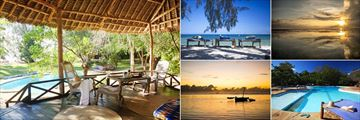 Kinondo Kwetu, (clockwise from left): Bungalow Veranda. Beach Beds, Ocean Spa Lodge at Sunset, Main Pool and Ocean Spa Sunset at Sunrise