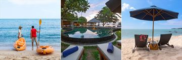 Kayaking, the upper-level pool and the beach at Outrigger Koh Samui