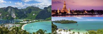 Krabi Islands, Wat Arun Temple, Bangkok & a beach in Krabi