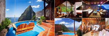Ladera Resort, (clockwise from left): Hilltop Suite Pool, Grand Piton Suite, Heritage Suite, Hilltop Dream Suite and Rainbow Suite Pool