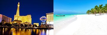 Las Vegas Strip at night and Akumal Beach in Cancun