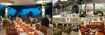 Leopard Beach Resort & Spa, (clockwise from left): Horizon Restaurant, Mawaingu Sky Lounge, Chui Grill, Grasshopper Bar and Kalani Lounge