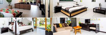 Lomani Island Resort, (clockwise from top left): Beachfront Pool Bure Bedroom, Beachfront Bure Bedroom, Hibiscus Suite Living Area and Deluxe Suite Bedroom