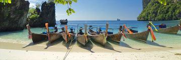 Longtail boats docked in Krabi