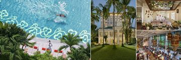 Mandarin Oriental, Bangkok, (clockwise from left): Pool, Authors' Wing, Thai Cooking School and Hotel Lobby