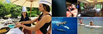Maradiva Villas Resort & Spa, (clockwise from left): Cooking Class, Boxing, Fitness Centre, Kayaking and Swimming with Dolphins