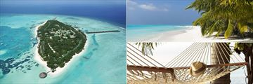 Meeru Resort aerial view, beachfront and hammock in the Maldives