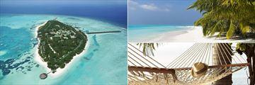 Meeru Resort aerial view, beachfront and hammock in the Maldives