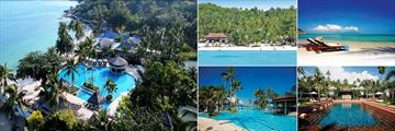 Melati Beach Resort & Spa, Aerial View of Resort, Beachfront, Sun Loungers, Pool and Beach Pool