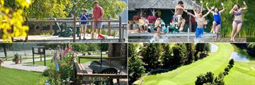 Mirror Lake Inn Resort and Spa, (clockwise from top left): Fishing, Swimming, Golf and Tennis