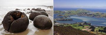 Moeraki Boulders & Aerial View of Dunedin